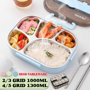 🔥 Stainless 2-5 Grid Thermal Insulated Lunch Box Bento Food Container Women
