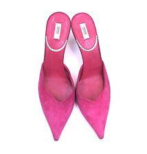 PRADA Pink Suede Pointy Toe Mule Slip On Bronze Woven Kitten Heel Womens SZ 38