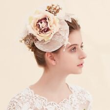 Wedding Sinamay Fascinator Royal Ascot Race Pillbox Hat With Flowers and veiling