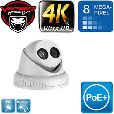 8MP IP POE CCTV TURRET DOME 4K ULTRA NIGHT VISION HD WHITE IN/OUTDOOR CAMERA UK