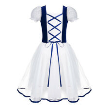 UK Kids Girls Dress Lace Leotard Dance Short Sleeve Ballet Skating Tutu Skirt