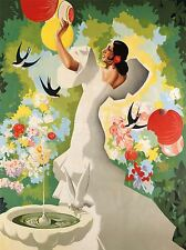 ART PRINT POSTER PAINTING SPAIN FLAMENCO BIRD SWALLOW FLORAL COLOURFUL NOFL0897