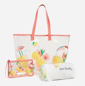 "Vera Bradley 3pc ""Toucan Party"" BEACH BUNDLE Clear Tote Bag, Clutch & Towel NWT"