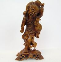 """Vintage Intricate 11"""" Hand Carved Wood China Asian Fisherman Man Figure W/ Base"""
