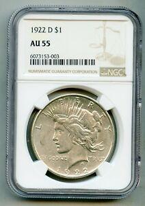 1922 D Peace Silver Dollar NGC AU 55