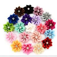 10X DIY Baby Kids Satin Flower Hair Bow For Headband Hair clip Wedding Decor EB