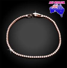 Wholesale 18K Rose Gold Filled Tennis Clear Crystal Bracelet Bridal Wedding