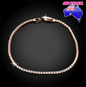 Wholesale 18K Rose Gold Filled Tennis Clear Crystal Bracelet Bridal Wedding