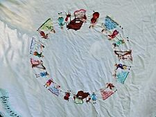 Vintage Italian Embroidered LINEN Tablecloth 8 Napkins Music Dancing Colonial
