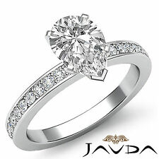 Pear Diamond Classic Pave Engagement Ring GIA G Color VS2 14k White Gold 1.5 ct