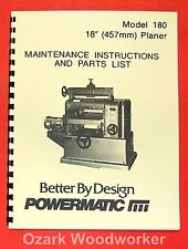 POWERMATIC 180 18-inch Planer Operator-Parts Manual 0520