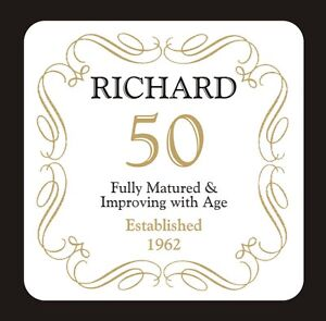 PERSONALISED 50 / 50th BIRTHDAY COASTER - BORN IN 1969 - ANY NAME -GIFT