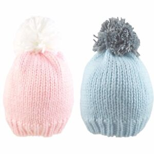 Baby Pom Pom Hat Beanie Bobble Cap Knitted Winter Warm Boy Girl Two Tone 0-18 M