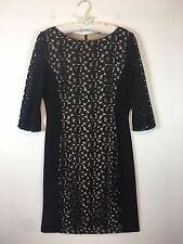 Anne Klein Little Black Dress Size 10 Slimming Stretchy Lace on Nude Knee Length
