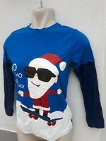 M&Co Kids Boys Age 9 10 Blue Father Christmas Long Sleeve Top Xmas Jumper Day