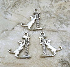 Set of 3 Pewter Cat on Scratching Post Charms - 5169