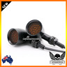 2x Black Grill Motorcycle LED Turn Signal indicator Light Harley cafe racer XL