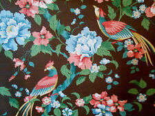 "Vintage Stroheim & Romann Fabric  6-12 yds ""IMPERIAL BIRDS"" Brown Chinoiserie"