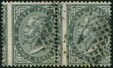 REGNO USATO -  1863 5 C. verde, coppia orizzontale 5/699