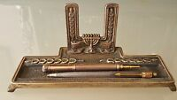 Antique Israeli Bronze Frame Desktop Pen Stand