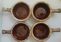 4 vintage Hull USA Pottery Onion Soup Chowder Bean Stew Bowls 2 UNUSED