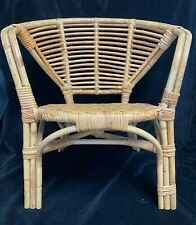 Childs Vintage Retro Mid Century Woven Bamboo Cane Chair Boho Chic