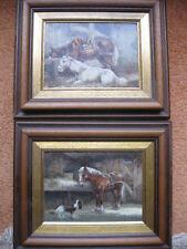 2 Gemälde Luigi Rocca (geb. 1952 Porpetto) Öl auf Holz Pferde Hunde