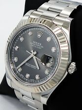 ROLEX DATEJUST II 116334 41mm DIAMOND DIAL 18K WHITE GOLD FLUTED BEZEL *MINT*