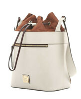 NWT. DOONEY & BOURKE BeaconLarge Drawstring  Leather/Suede bucket bag Bone/Ecru.