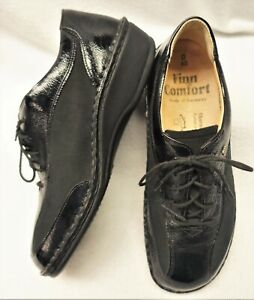 FINN COMFORT GERMANY~NEW!!~WOMEN'S 40D=8W BLACK OXFORD LEATHER SHOES CORK INSOLE
