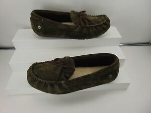UGG Australia Suede CAMMO DESIGN ARMY GREEN Moccasin Slipper Shoes US 6 $115.00!