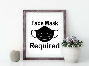 Printable Face Mask Required Business Safety Sign |Printable Store Window Sign