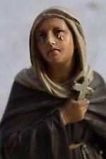 Rare Antique Plaster Chalkware Statue Original Multicolor Margaret of Cortona