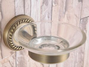 Glass Soap Dish and Holder Antique Brass Wall Mounted Bathroom Accessory Gba259