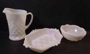 Beautiful Lot of 3 Milk Glass- Pitcher, Small Bowl, Soap Dish- Intricate Designs