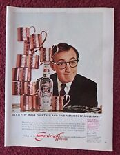 1966 Print Ad Smirnoff Vodka ~ Woody Allen Get a Few Mugs Together Mule Party