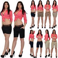 Damen Shorts Damenshorts kurze Hose Hosen Capri Bermuda Stoff Hose H31