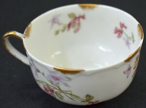 Haviland France Cup Limoges Pink Gold Floral Columbine? Bleeding Heart? FREE S&H