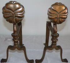 More details for heavy pair arts & crafts art nouveau brass or bronze fire ends