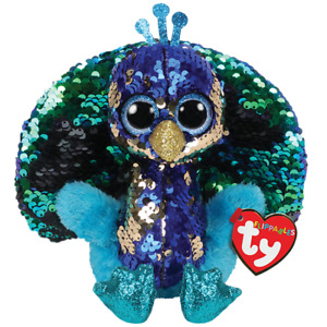 """TY Flippables Sequin Plush - Tyson the Peacock (6 """") - MWMT 15cm New"""