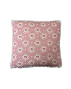 """16"""" Vintage style Pink Rose White pompom trim scatter cushion covers sham"""