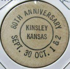 1954 Kinsley, KS 80th Anniversary Wooden Nickel - Token Kansas