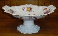 """Antique Hand Painted Semi-Porcelain Compote / Raised Centerpiece Bowl - 14"""""""