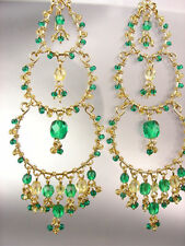 EXQUISITE Artisanal Green Aquamarine Crystals Gold Chandelier Dangle Earrings 71
