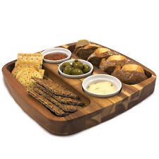 CHEF-HUB ACACIA SQUARE WOODEN SERVING BOARD 3 DIPBOWL FOR TAPAS, BREAD, DIPS ETC