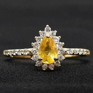 .60ctw Canary Yellow Sapphire & Diamond Cut Sapphire 14K Yellow Gold 925 Ring