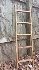 Primitive Rustic 14x48 Ladder Home Wall Decor Jewelry Tie Towel Quilt Towel Rack