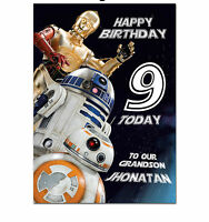 c010; Large Personalised Birthday card; Custom made for any name; Star Wars