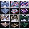 HISDERN Floral Check Men Woven Silk Self Bow Tie Wedding  Handkerchief Set#RM1