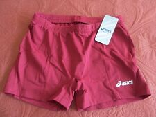 ASICS WOMEN'S BASELINE VOLLEYBALL SHORT BURGUNDY FITTED LARGE NEW